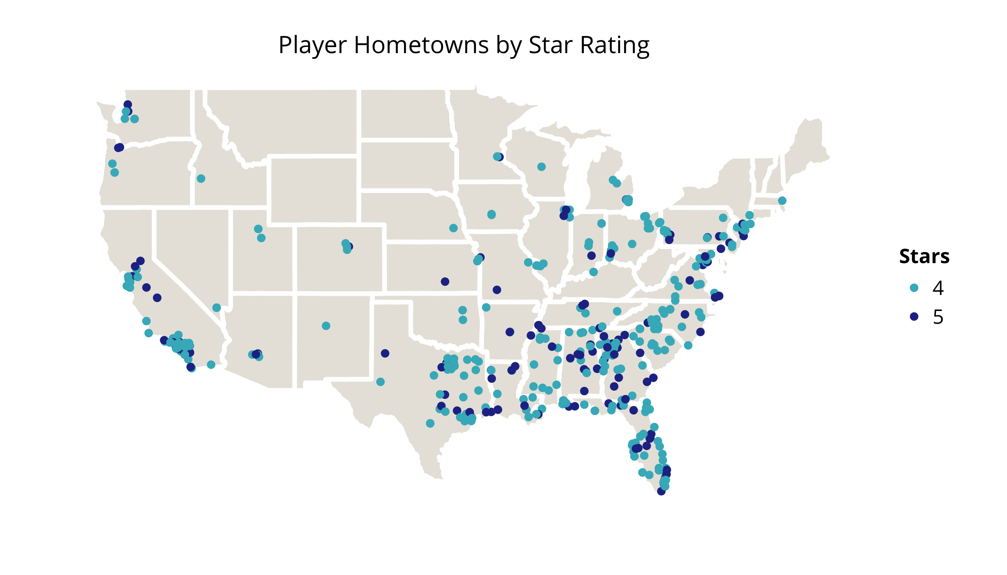 Player Hometowns by Star Rating